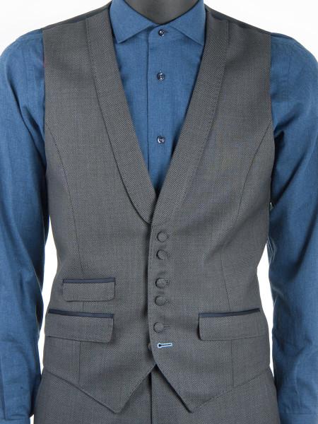 Midgrey Sharkskin Wool Waistcoat