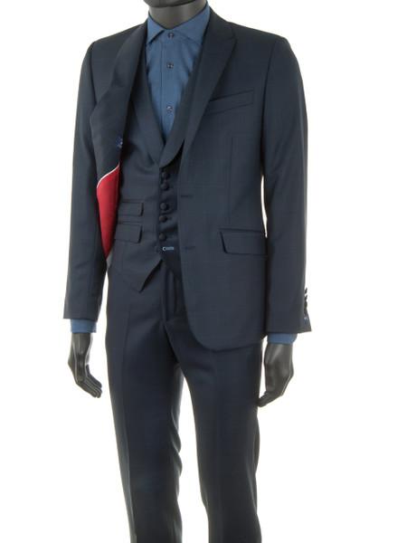 Navy Windowpane Check 2 Piece Wool Suit