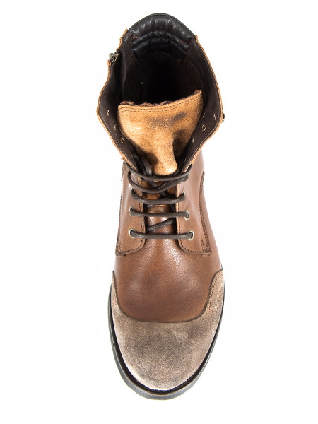 High Top Brown Boots with Suede Detail