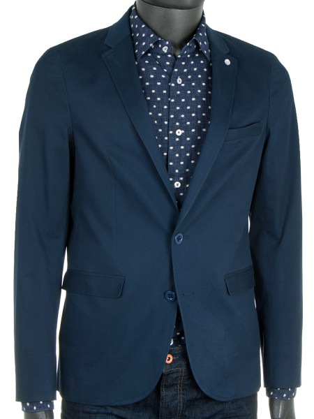 Light Cotton Stretch Navy Blazer
