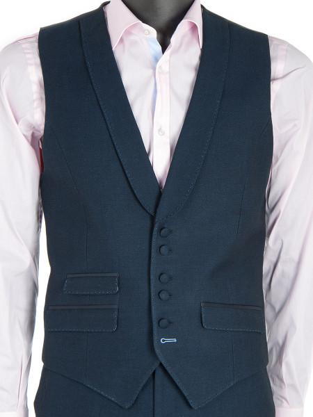 Navy Linen Cotton Waistcoat
