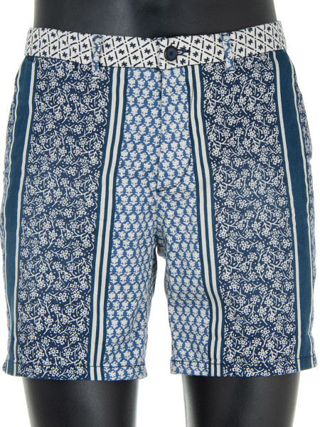 Blue Patterned Printed Shorts