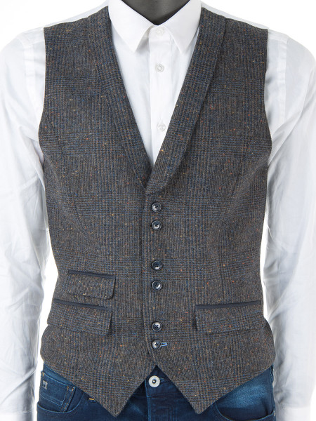 Prince of Wales Check Pure Wool Waistcoat