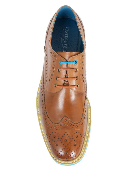 Cognac Brogue With Bright Blue Soles