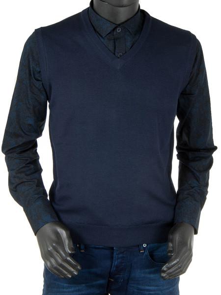 Navy Extra Fine Merino Wool Sleeveless Pullover