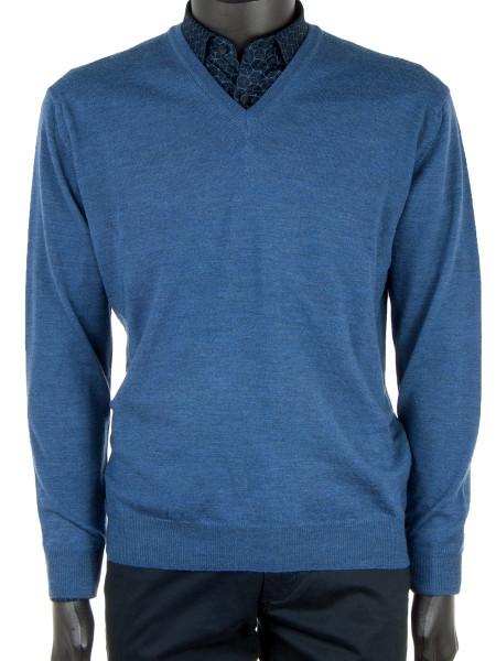 Ocean Blue Extra Fine Merino Wool Pullover