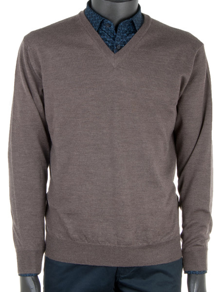 Brown Extra Fine Merino Wool Pullover