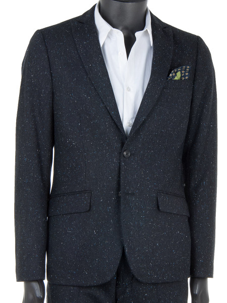 Black Fleck Nepped Wool Blazer