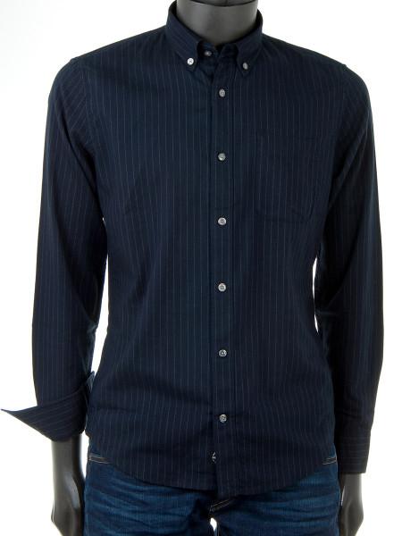 Navy Pinstripe Flannel Shirt
