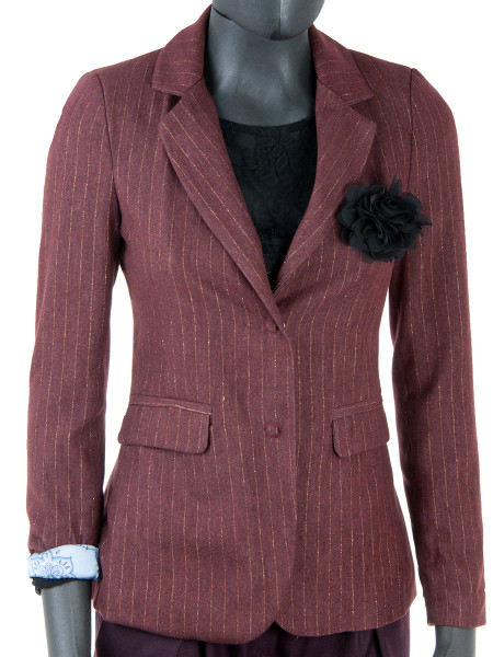 Bordeaux Pinstripe Fitted Blazer