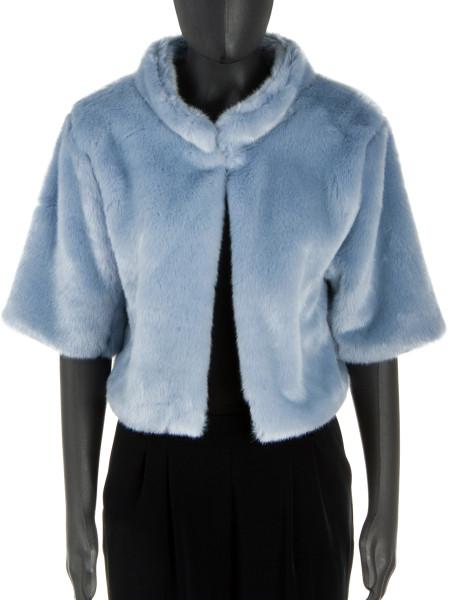 Sky Collarless Short Faux Fur Jacket