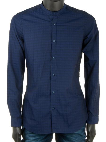 Dark Blue Patterned Mandarin Collar Shirt