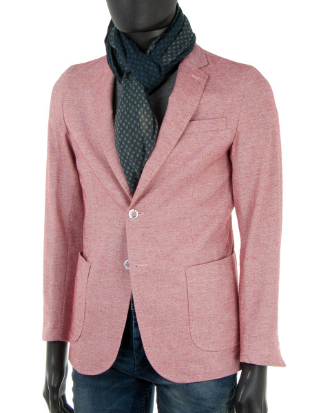 Light Red Cotton Linen Blend Blazer