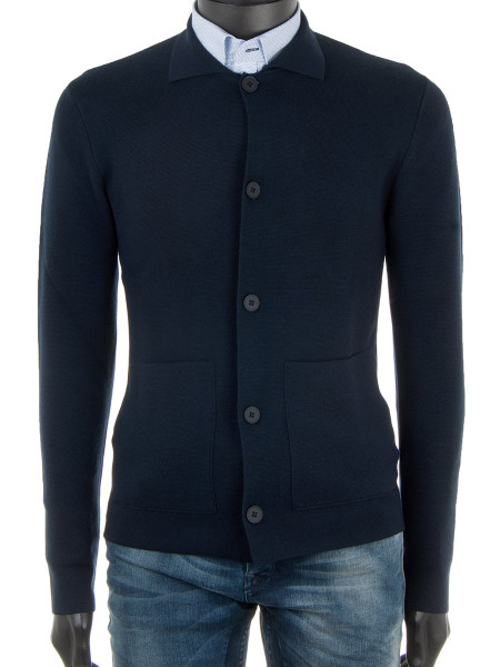 Navy Knitted Wool Blazer Cardigan
