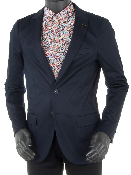 Dark Navy Stretch Cotton Blazer