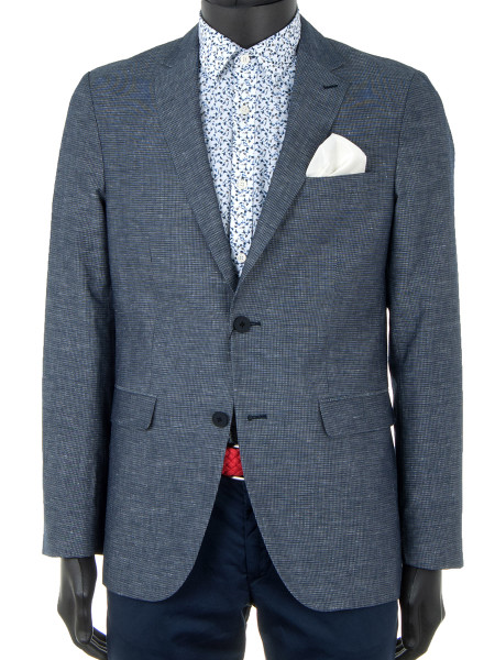 Blue Check Cotton & Linen Blazer