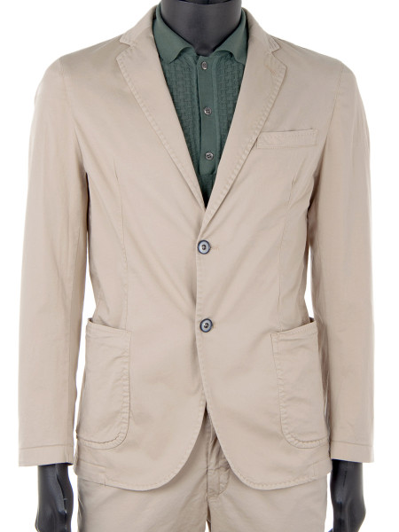 Sand Cotton Stretch Blazer