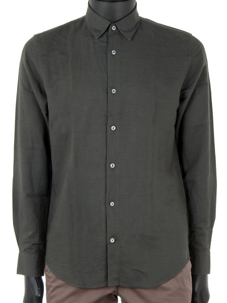 Dark Forest Green Cotton & Linen Shirt