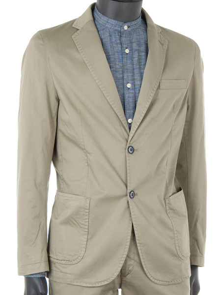 Olive Cotton Stretch Blazer