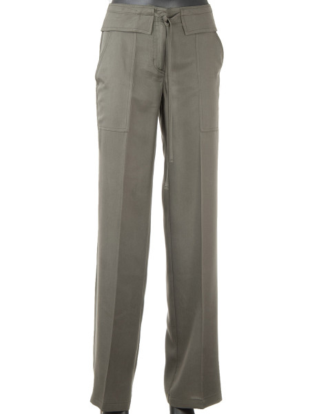 Khaki Tencel Wide-Leg Pants