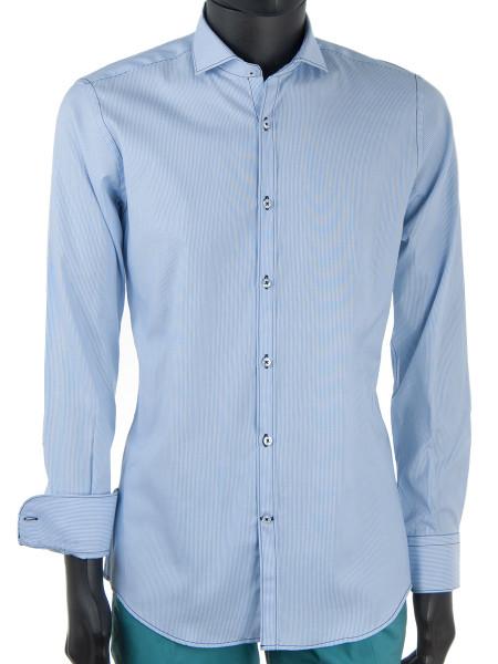 Sky Fine Striped Cotton Shirt
