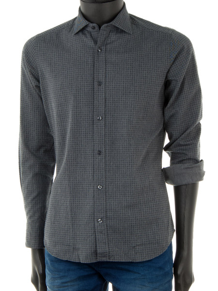 Mid-Grey Blue Square Patterned Shirt