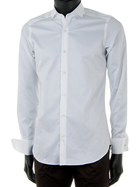 White Superfine Cotton Double Cuff Dress Shirt