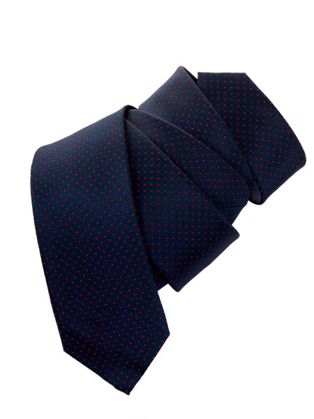 Navy Red Spot Silk Tie