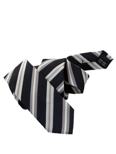 Black Silver & White Striped Silk Tie