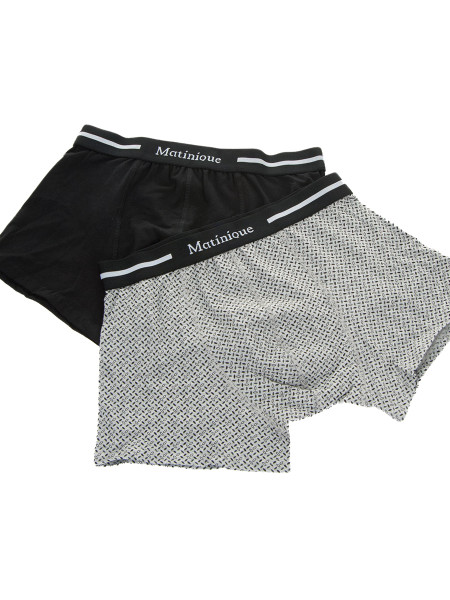 Black + Grey With Black Leaf Pattern 2-Pack Cotton Trunks