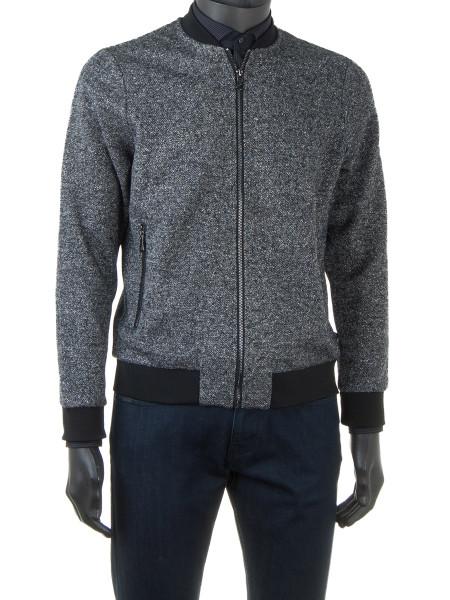 Grey Melange Zip Bomber Jacket
