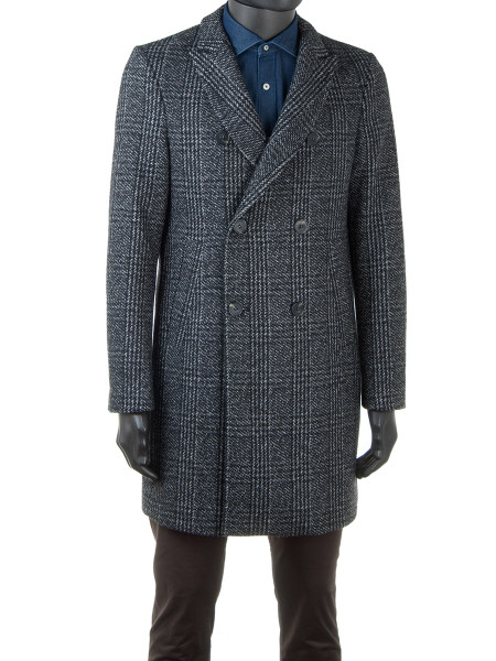 Double-Breasted Prince of Wales Wool Blend Coat