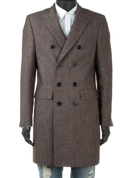 Brown Marle Wool & Cotton Blend Top Coat