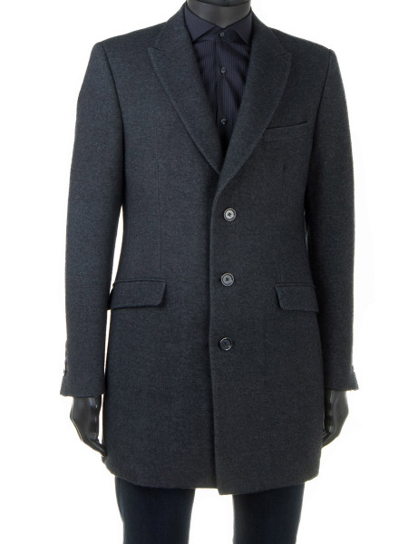 Classic Charcoal Single-Breasted Wool & Cotton Blend Top Coat