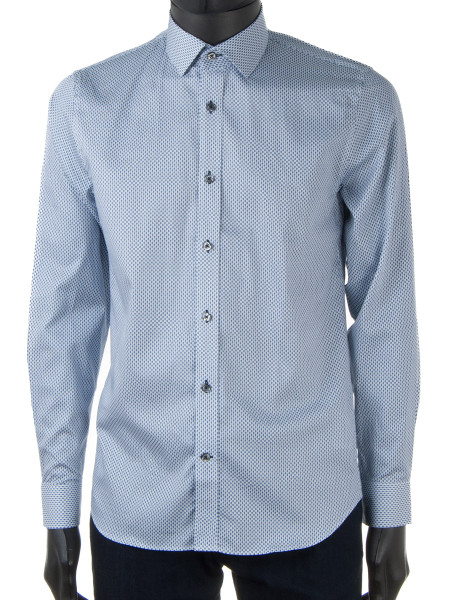 Light Blue Patterned Business Shirt