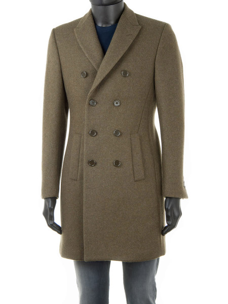 Green Double-Breasted Thornproof Wool Coat