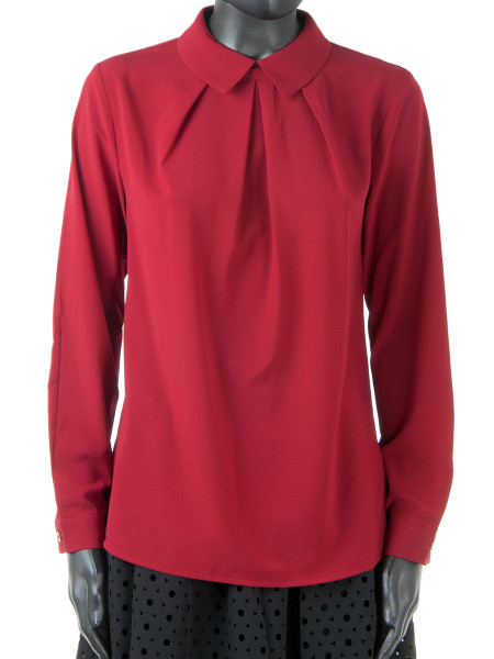 Pleated Front Bordeaux Blouse