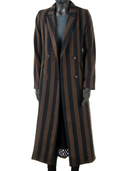 Long Striped Fitted Coat