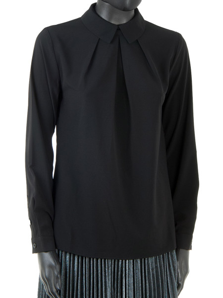 Pleated Front Black Blouse