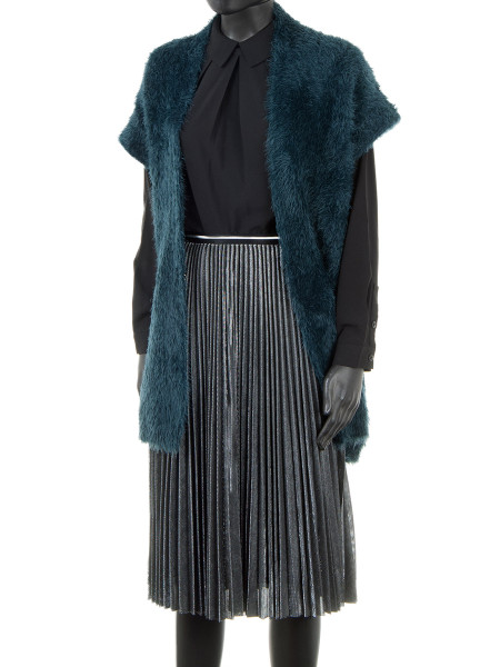 Long Sleeveless Faux Fur Gilet