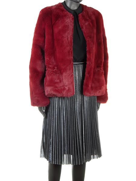 Crimson Faux Fur Jacket