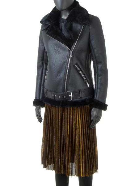 Black Faux  Sheepskin Aviator Jacket