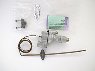 "LAST ONE! Vintage Robertshaw Thermostat Model BJ - Factory Re-Built. This thermostat has been calibrated and tested. It is guaranteed to work like a new thermostat. Gas Connection - Rear Housing CENTER DOWN Connect  /  7/16"" Tube  /  Right Turn  /  Capillary Length - Approximately 48"" / Pictured flange is NOT INCLUDED with the thermostat."