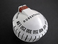 """Original Reconditioned Vintage Robertshaw Classic Oven Gas Control Knob. This vintage knob has the original red """"OFF"""" aluminum srtip. Very rare to find in such nice condition. We have re-conditioned this vintage Robertshaw original. There are no cracks, chips or stains - this knob has been re-lettered. Works with the original vintage Robertshaw Model BJ thermostats.  PLEASE NOTICE: The rear knob stem length is 1.0"""""""