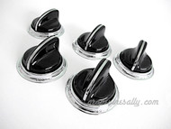 """5 Classic Vintage BLACK O'Keefe & Merritt Gas Stove Control Knobs with NEW CHROMED Bezel Rings. These knobs fits the vintage 1940's-1950's O'Keefe & Merritt gas stoves. There are no cracks, chips in the plastic/bakelite, all rear """"D's"""" are in very good shape. All knobs have a brilliant shine. All control knob bezel rings are new chrome. These are all stunning - extremely rare.  THIS SET INCLUDES: 5 - O'Keefe & Merritt Vintage Black Stove Burner Control Knobs with New Chrome Bezels Rings   Matching O'Keefe & Merritt vintage red & black 15"""" & 12"""" handles are also available, see 'O'Keefe & Merritt Stoves' category > 'Handles'"""
