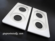 "Original Vintage 1940's - 1950's Wedgewood NEW PORCELAIN ENAMELED Stove Tops. These fit the vintage 36"" wide Wedgewood stoves. This set has the outer round corners - they sit within the stove top frame that surrounds the entire stove top. (white porcelain enamel frame is available in store at this time)   MEASUREMENTS: Length 20-1/2"" / Width 11.0"" - Grate Insets: Length 16-7/8"" / Width 8-1/8"" / Round Burner Holes: rear 4.25"" front 4.75"""