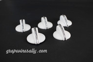 """This is a set of 5 original vintage Western Holly stove gas control knobs with New Chrome top trim. We have re-chromed the top knob trim strips. There are no cracks, chips or stains - the rear """"D""""'s are in excellent condition. This knob set is in excellent condition.   Very rare."""