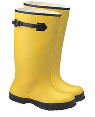 "Premium 17"" Plain Toe Rubber Over-the-Shoe Ribbed Outsole Boots (Yellow)"