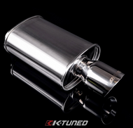 K-Tuned - Universal Muffler - Polished / Short (Offset Inlet / Center Outlet)