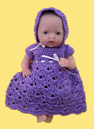 "CMPATC055PDF Shell Pattern Outfit for 7.5"" Mini La Newborn Baby Doll"